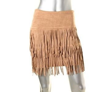 AQUA - Suede Fringe Mini Skirt